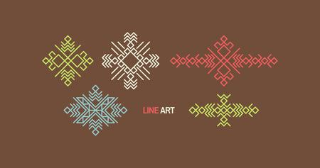 Vintage decoration element, line art design for invitations, posters, badges. Linear element geometric style. Elegant luxury design template vector illustration. Illustration