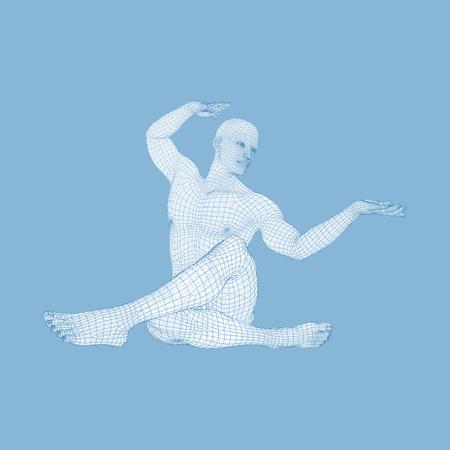 ヨガワークアウトをしている男。人間の3Dモデル健康なライフスタイル。トレーニングコンセプト。ベクトルイラストレーション。 写真素材 - 96285349
