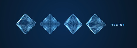 Octaedro. Objeto con puntos. Rejilla Molecular. Estilo de tecnología 3D con partículas. Ilustración vectorial Estructura de conexión futurista para la química y la ciencia.