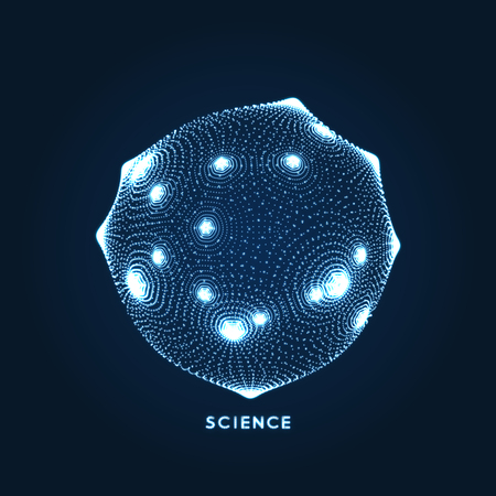 Sphere  Object with dots. Molecular grid  3d technology style with particle. Vector illustration.