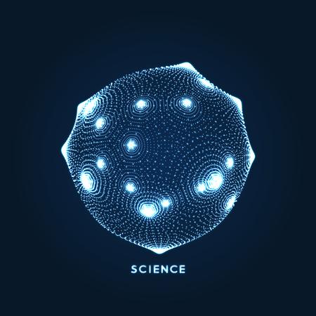 Objeto de esfera con puntos. Estilo de tecnología 3d de rejilla molecular con partículas. Ilustración vectorial