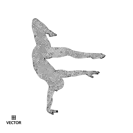Man is posing and dancing.   3d model of man  Vector illustration.