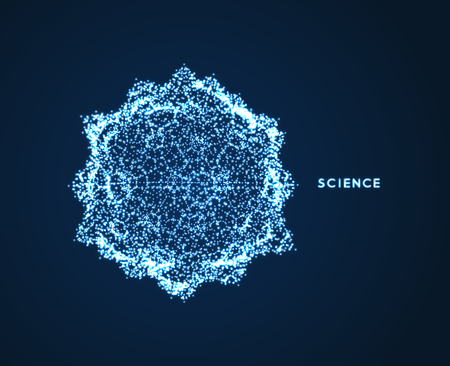 Sphere. Object with dots. Molecular grid. 3d technology style with particle. Vector illustration. Futuristic connection structure for chemistry and science.