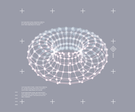 Torus. Object with dots. Molecular grid.