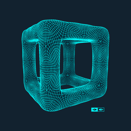 Cube. Connection structure. 3d grid design. Technology style. Molecular lattice.