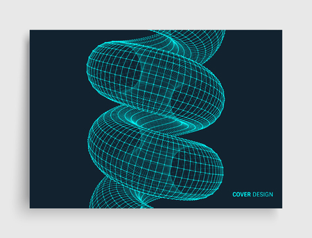 Cover design template. Spiral. Connection Structure. Abstract grid design. 3d vector illustration for science, technology. Illustration