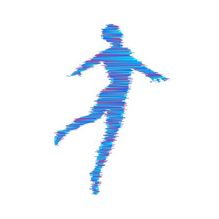 Geschäfts-, Freiheits- oder Glückkonzept. Modell 3d des Mannes. Modell des menschlichen Körpers. Vektor-illustration Vektorgrafik