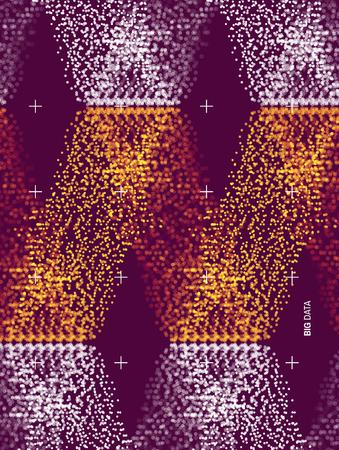 Grandes datos de fondo ondulado con efecto de movimiento. Ilustración de Vector de estilo de tecnología 3D. Ilustración de vector