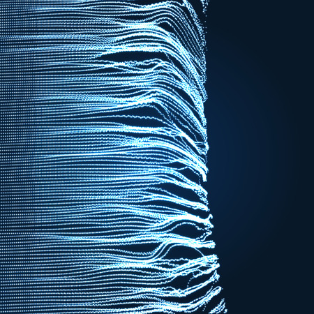 Array with Dynamic Emitted Particles. 3D Technology Style. A Glowing Grid. Abstract Background. Vector Illustration.