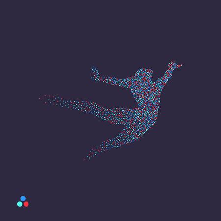 Geschäfts-, Freiheits- oder Glückskonzept. Gepunktete Silhouette der Person. Vektorillustration. Vektorgrafik