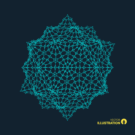 Crystal. Object with lines and dots. Molecular grid. 3d technology style with particle. Vector illustration. Illustration