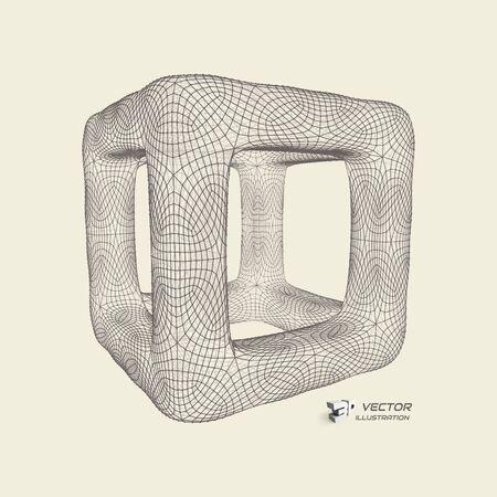 Cube. Connection structure. 3d grid design. Technology style. Molecular lattice.