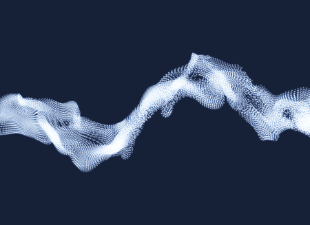 Array with Dynamic Particles. Wavy Background. Composition with Motion Effect. Abstract Vector illustration.