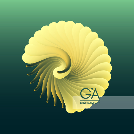 3D vector illustration with seashell nautilus. Object with smooth shape. Can be used for advertising, marketing, presentation, card and flyer. Stok Fotoğraf - 99170653