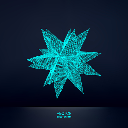 Crystal object with connected lines and dots. Molecular grid. 3d futuristic technology style for chemistry and science. Vector illustration.