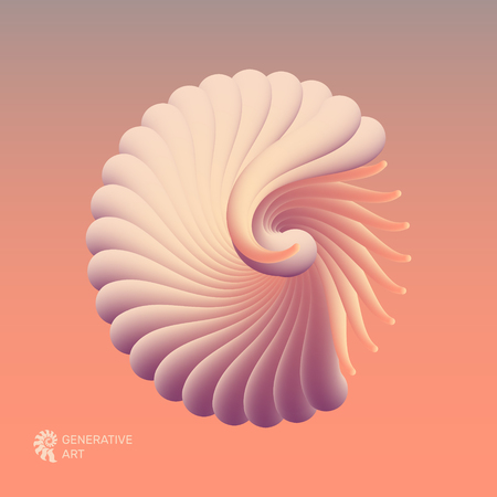 3D vector illustration with seashell nautilus. Object with smooth shape. Can be used for advertising, marketing, presentation, card and flyer.