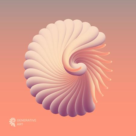 Illustrazione vettoriale 3D con conchiglia nautilus. Oggetto dalla forma liscia. Può essere utilizzato per pubblicità, marketing, presentazione, carta e volantino. Vettoriali