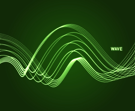 Wavy background. Array with dynamic particles. Composition with motion effect. 3d technology style. Vector illustration. Illustration