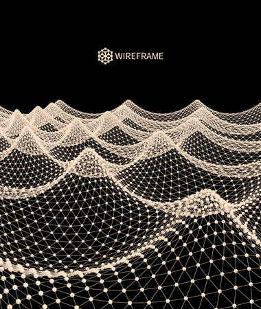 Water Surface Wavy Grid Background 3d Abstract Vector Illustration.