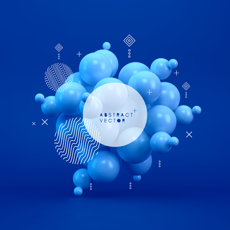 Molecule. 3D concept illustration. Vector template. Vettoriali