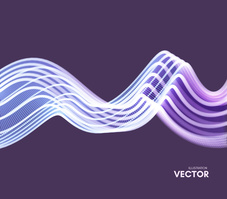 Wavy background with motion effect. 3d technology style. Vector illustration. Illustration