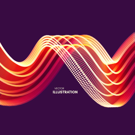 Wavy background with motion effect. 3d technology style. Vector illustration. Illusztráció