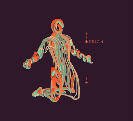 Man who prays. 3d model of man. Vector illustration. Wire connection to virtual reality. Vektoros illusztráció
