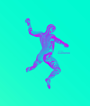 Jumping man. Freedom concept. 3d vector Illustration. Wire connection to virtual reality. Vektorgrafik