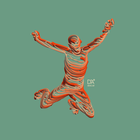 Jumping man. Freedom concept. 3d vector Illustration. Wire connection to virtual reality.