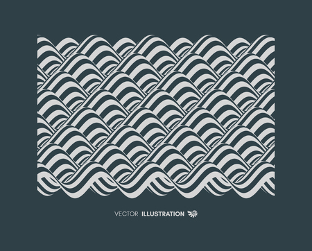 Abstract wavy background. Pattern with optical illusion. Textbook, booklet or brochure mockup. Cover design template. Futuristic vector illustration.
