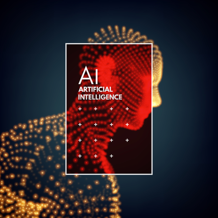 Artificial intelligence. Technology and engineering concept. 3d model of man. Vector illustration.