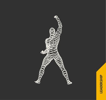 Leadership concept. Emblem for sport championship. 3d vector Illustration.