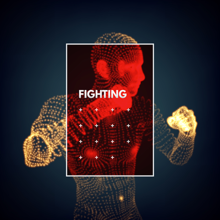 Boxer. Fighting men. 3d model of man. Body scanning. Vector graphics composed of particles.