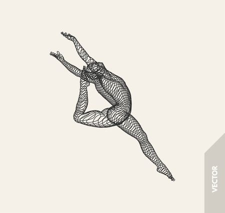 Gymnast. 3d human body model. Gymnastics activities for icon health and fitness community. Vector illustration.