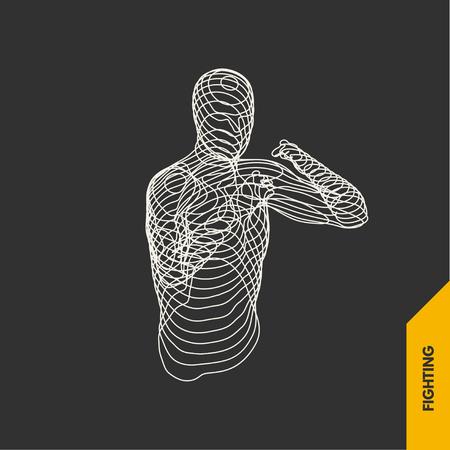 Boxer. Fighting Man. 3D Model of Man. Sport Symbol. Vector Illustration.