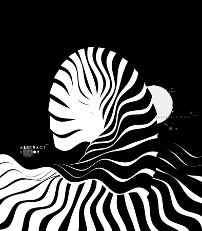 Abstract wavy background. Pattern with optical illusion. Cover design template. Futuristic vector illustration. Vektorové ilustrace