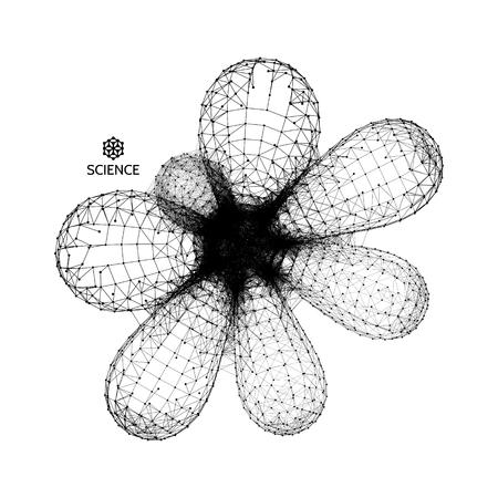 Molecuul. Grafisch ontwerp. 3D-vector illustratie. Verbindingsstructuur voor scheikunde en wetenschap.