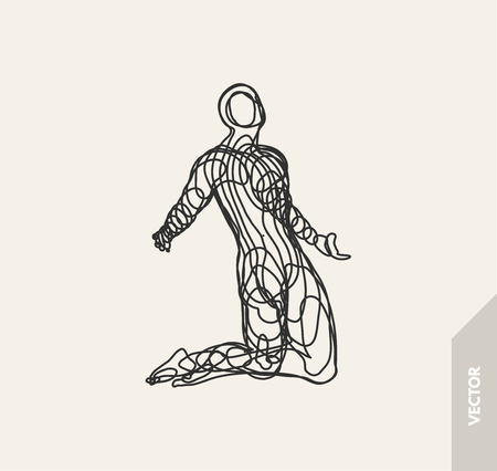 Man who prays. 3d model of man. Vector illustration. Wire connection to virtual reality.