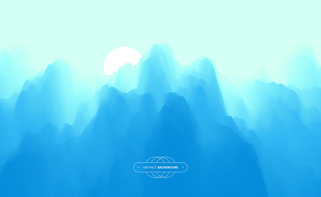 Landscape with mountains and sun. Sunset. Mountainous terrain. Abstract background. Vector illustration. Иллюстрация