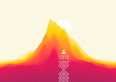 Landscape with mountains and sun. Sunset. Mountainous terrain. Abstract background. Vector illustration. Çizim