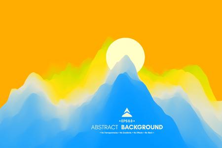 Landscape with mountains and sun. Sunset. Mountainous terrain. Abstract background. Vector illustration. Illustration