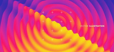 3D wavy background with ripple effect. Abstract vector illustration. Design template. Modern pattern. Illusztráció