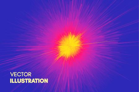 Fond avec explosion. Lignes dynamiques Starburst. Émission solaire ou étoilée. Style de technologie futuriste 3D. Illustration vectorielle.