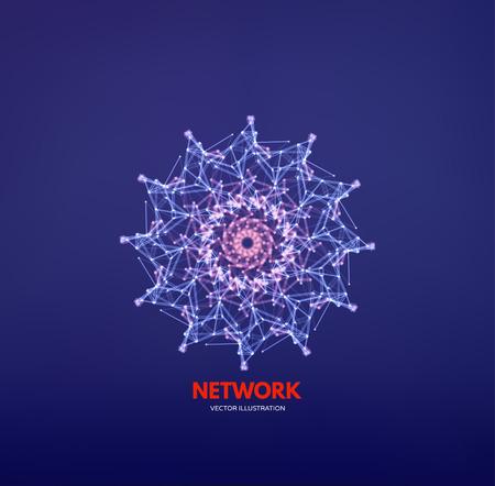 Flocons de neige. Structure de connexion 3D. Style de technologie futuriste. Élément low-poly pour la conception. Illustration vectorielle pour la science, la chimie ou l'éducation. Vecteurs
