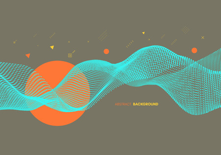 Abstract wavy background for banner, flyer, book cover, poster. Dynamic effect. Vector illustration. Design template. 向量圖像