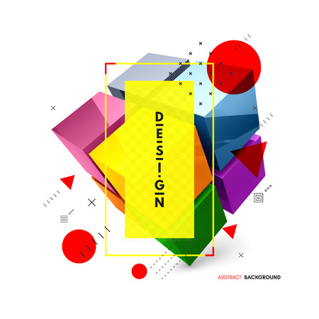 Cube. Design element for business or construction concept. 3d vector illustration. Ilustração