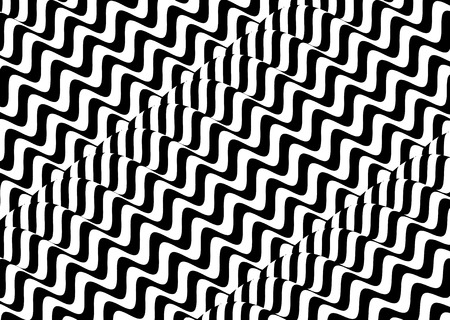 Pattern with optical illusion. Black and white design. Abstract striped background. Vector illustration. Ilustracja