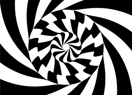 Pattern with optical illusion. Black and white design. Abstract striped background. Vector illustration. Illustration
