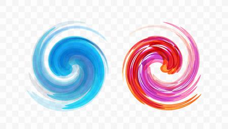 Élément de conception de tourbillon abstrait. Mouvement en spirale, rotation et tourbillon. Illustration vectorielle avec effet dynamique.