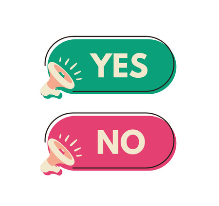 Yes and No megaphone labels. Vector illustration for design or print. Illustration